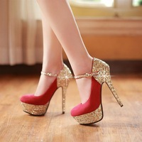 Fashion paillette elegant 2013 ultra high heels wedding shoes platform banding bandage hasp single shoes low-top shoes