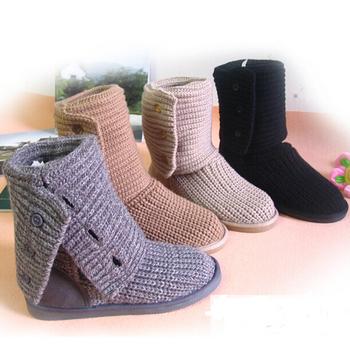 plush snow boots outsole high-leg Вязанный boots for Женщины autumn and winter