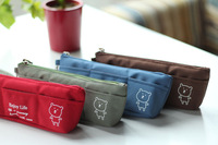 2013 Super hotting Spoon 're canvas multi-pocket bear portable pencil case stationery storage bag coin purse  Free shipping