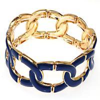 Trandy bangle golden plating,elastic metal bangle with blue enamel,high quality plated fashion enamel bangles 50650