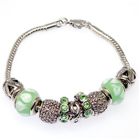 Discounted Items European Style Fish Charm Chamilia Bracelet  rhodium Murano Glass For Women Fashion Jewelry 50476