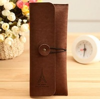 Fresh 1 stationery vintage elegant suede leather stationery brief fashion pencil case storage bag