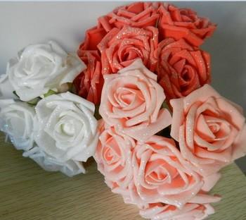 Free Shipping Pe powder rose cartoon bouquet material pe foam flower 6cm flower gold artificial rose