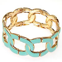 Trandy bangle golden plating,elastic metal bangle with turquoise enamel,high quality plated fashion enamel bangles 50650