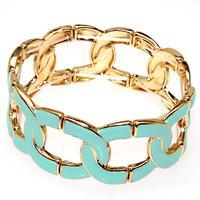 Trandy bangle golden plating,elastic metal bangle with turquoise enamel,high quality plated fashion enamel bangles 50650