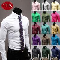 2014 fashion new men leisure long-sleeved shirt / Pure color business dress shirt / 17 color large size xxxl