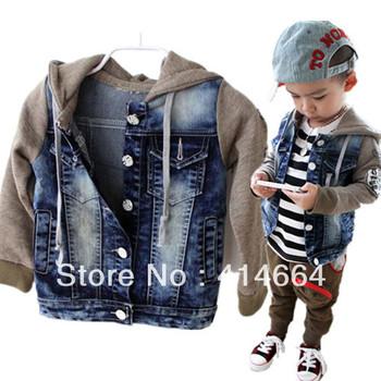 wholesale Free shipping New sale children outerwear,denim boys jacket,kids winter coat,winter coat