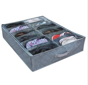 Free Shipping Wholesale Bamboo charcoal 12 grid transparent shoe storage box lid collapsible shoe cover shoes organizer box(China (Mainland))