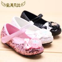 Female child leather princess shoes paillette pearl bow single dance shoes