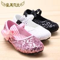 Child paillette princess shoes female child leather bow children dance shoes black white color