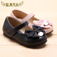 2014 Female child black leather princess bow shoes