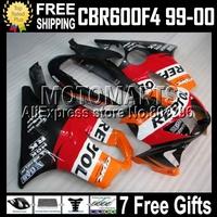 7gifts for HONDA MQ71 CBR600f4 99-00 f4 FS CBR600 F4 Repsol 99 00 CBR 600 F4 red 1999 2000  CL116 CBR600F4 600F4 ABS Fairing