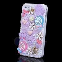 New Fation Purple Diamond Flower Cartoon Style Butterfly Pearl Case Cover For iPhone 4G 4S Cute Cartoon Jewelry Free Shipping