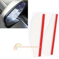 R1B1 Hot 2PCS Car Rear View Mirror Flexible Anti Rain Guard Sun Shade Weatherstrip