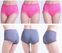 5PCS/Lot High Quality  Lady High Waist Large Size Bamboo Fibre Briefs Lace Modal Women Underwear U223