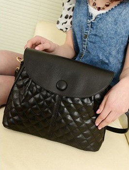 2013 spring and summer women's handbag plaid bag fashion star style black women's handbag messenger bag