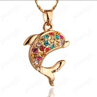 Wholesale Free Shipping Unique 18K Gold Plated Use Multi-color Swa Crystal Jewelry 18K GP Cute Dolphin Pendant Necklace
