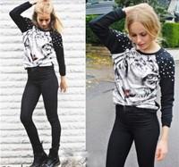 Free Shipping Fashion Animal Punk Studs Hoodies Women Tiger Printed Rivet Shoulder Patten Long Sleeve