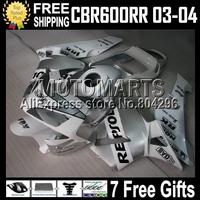 F5 MQ74 Repsol White For HONDA CBR600 RR 03-04 CBR600F5 CBR 600 600RR white silver CBR600RR CL305 03 04 F5 2003 2004 Fairings