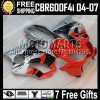 7gifts For HONDA MQ73 CBR600F4i red silver CBR 600 600F4i 04 05 06 07 CBR600F4I  CL349 red black 2004 2005 2006 2007 ABS fairing