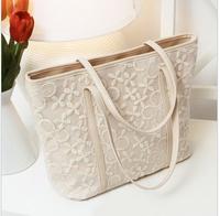 0115  Free Shipping 2013 women's handbag small fresh big bag lace bag lace crochet handbag messenger bag