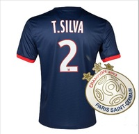 A+++ PSG 2014 Home Silva 2# Thai Soccer Jersey Paris Saint Football Kit Player Version St German Custom New Patches