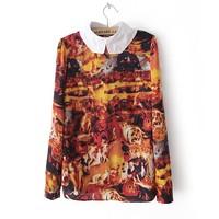 Free Shipping 2013 summer new arrival fashion vintage fashion slim peter pan collar oil painting print shirt autumn women's