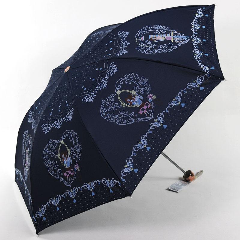 Uv sun umbrella cartoon folding three fold umbrella modern(China (Mainland))
