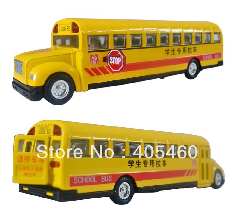 Free shipping Classic school bus plain WARRIOR music car model toy birthday gift(China (Mainland))