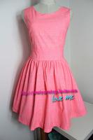 Summer fresh miju neon powder doodle vintage high waist sleeveless vest one-piece dress