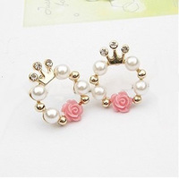 Stud earring sweet rose stud earring earrings gentlewomen pearl stud earring accessories female