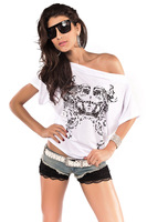 Free Shipping New Fashion Design Ladies Top Colored Drawing Batwing Sleeve Sexy Women's T-Shirt  25031