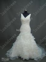 exquisite meimaid organza floor length train straps lace-up v-neck Vivid wedding dresses bridal veil