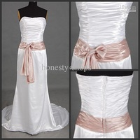 Hot New custom made Cheap Strapless Sash Pleats Taffeta Bridal Evening Wedding Dresses Gown