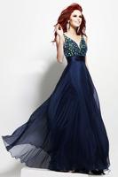 Double V-neck Strappy Empired Floor Length Custom Made Size Navy Blue Evening Dresses 2014