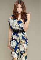2013 the new Big yards panty printing one-piece jumpsuits broken flower show thin trousers casual pants (send belt