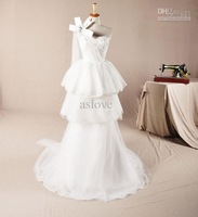 Princess One-shoulder Court Train Beaded Lace Bowknot Ivory Organza Sheath Wedding Dress A032