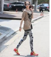 Korean version of the New Zealand velvet triangle hit color printing leggings pantyhose women leggings women pants long pants