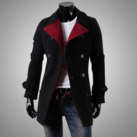 Color male classic outerwear slim double breasted turn-down collar wool coat 1401f11