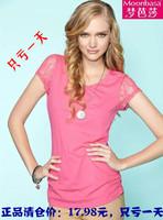 Free shipping Moonbasa 2014 summer women's solid color basic shirt lace short-sleeve t-shirt female o neck tops