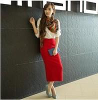 Free Shipping 2013 mercerized cotton after placketing elegant slim hip skirt  full paragraph quality super soft