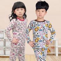2013 male female child plus velvet thickening child thermal underwear set baby autumn and winter underwear f-5058