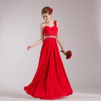 2014 tube top one shoulder red wedding dress