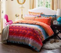 Free Shipping,cotton bed linens sanding 4pcs orange blue geometric pattern queen/king comforter bedding sets quilt/duvet covers