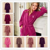 Free shipping New fashion Female robe bathrobes sleepwear coral fleece autumn and winter long design  Long coral velvet pajamas