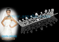 H011,2013 High quality,Bridal Wedding Crystal Zinc Alloy Crown and Gold plated pageant Tiaras+Free Shipping