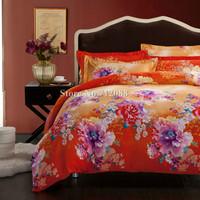Free Shipping,100% cotton bed linens sanding 4pcs queen/king bed comforter bedding sets purple flower orange quilt/duvet covers