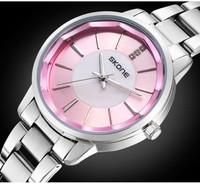 2014 New  Brand Wristwatch Stainless Steel Quartz Watches Pink Dress Clock ,Women Dress Watch,Rhinestone Fashion Watches ML0415