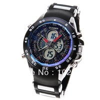 Free shipping Quamer Waterproof Rubber Band Double Movt Watches with Green Display Time Round Shaped LED watch