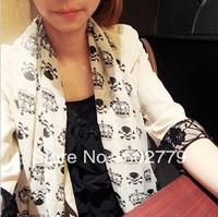 Wholesale 2013 Korean version of the crown skull pattern chiffon scarves, printed scarves winter scarves women